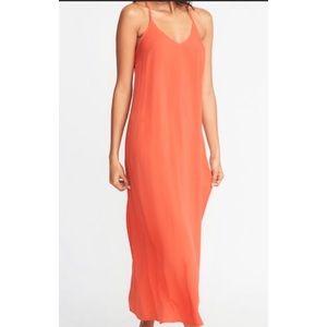 Old Navy Tangerine Orange Maxi Dress